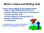 writer s intent and writing task