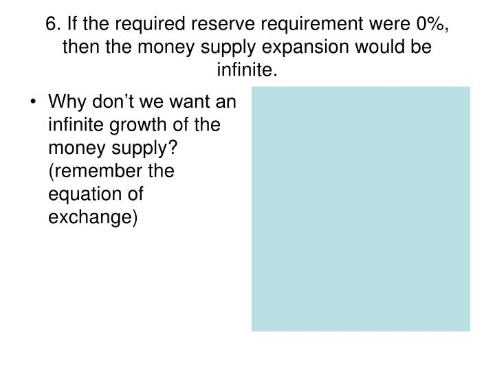 Why don't we want an infinite growth of the money supply? (remember the equation of exchange)
