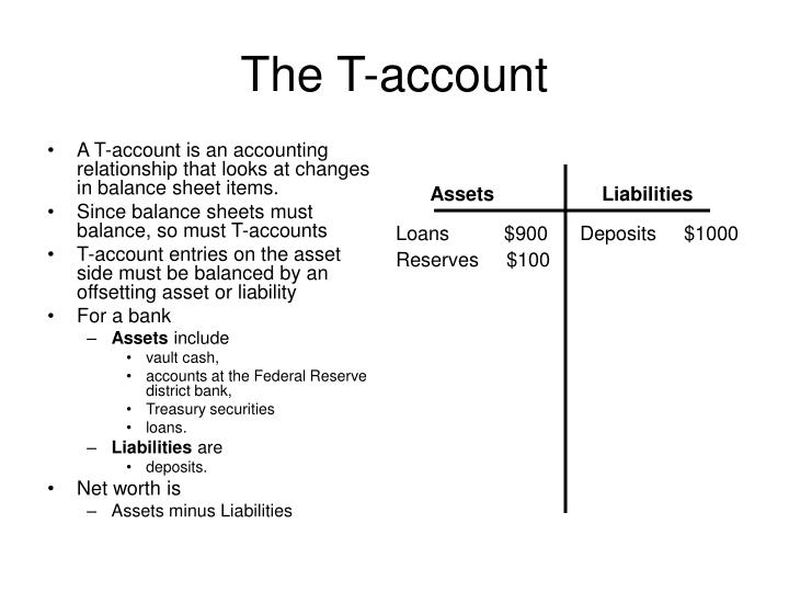 A T-account is an accounting relationship that looks at changes in balance sheet items.