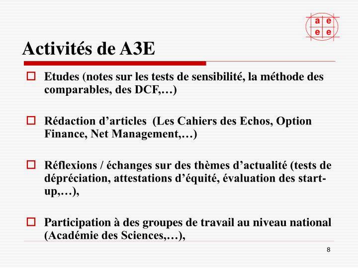 Activités de A3E