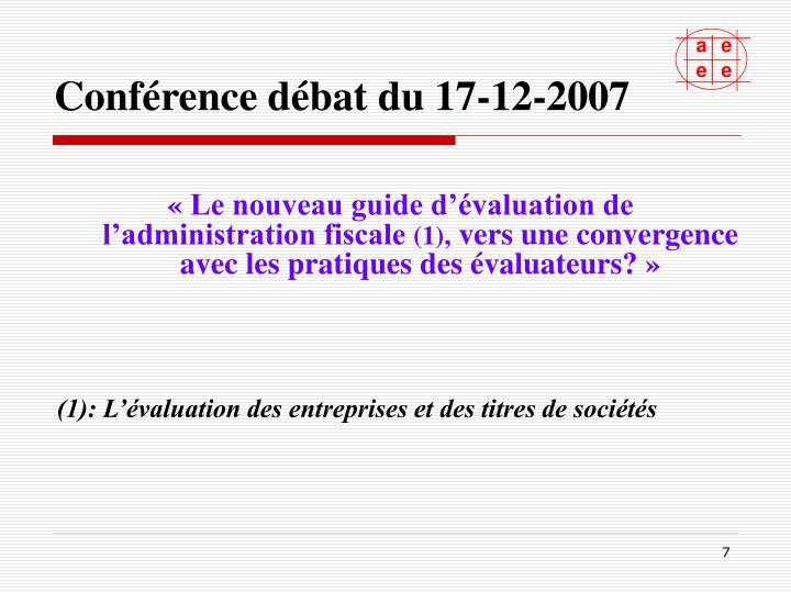 Conférence débat du 17-12-2007