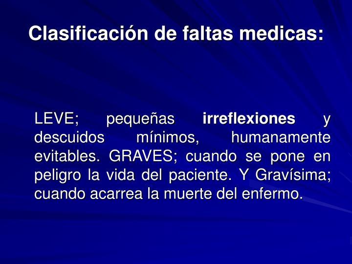 Clasificación de faltas medicas: