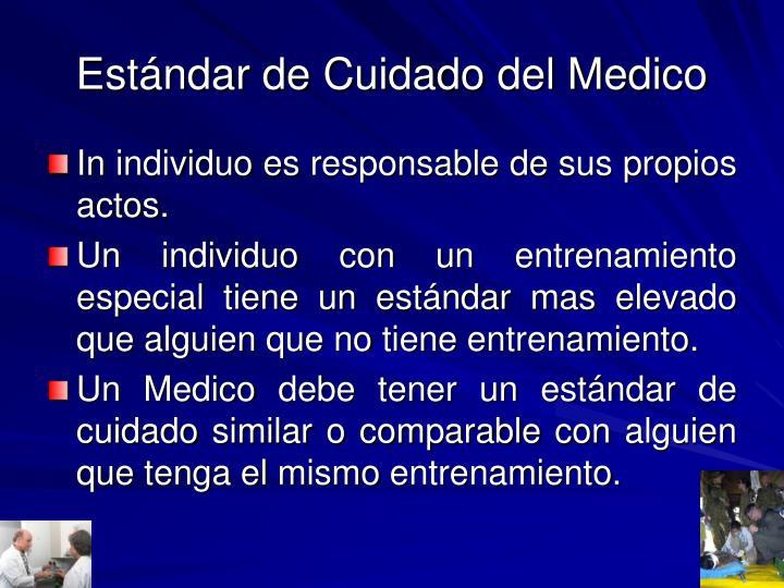 Estándar de Cuidado del Medico