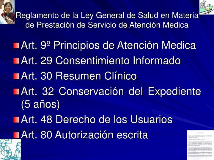 Reglamento de la Ley General de Salud en Materia de Prestación de Servicio de Atención Medica