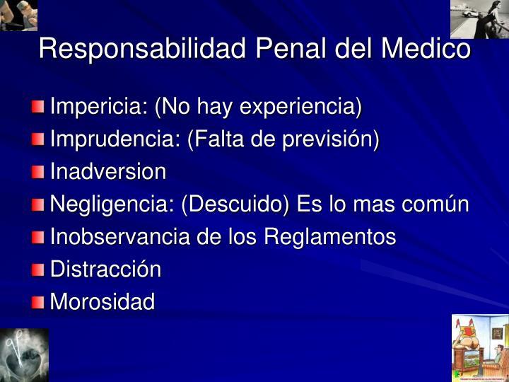 Responsabilidad Penal del Medico