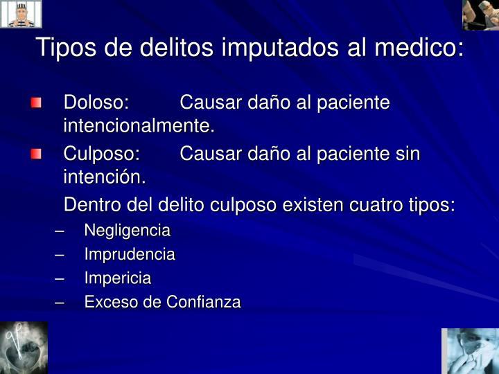 Tipos de delitos imputados al medico:
