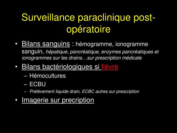 Surveillance paraclinique post-opératoire