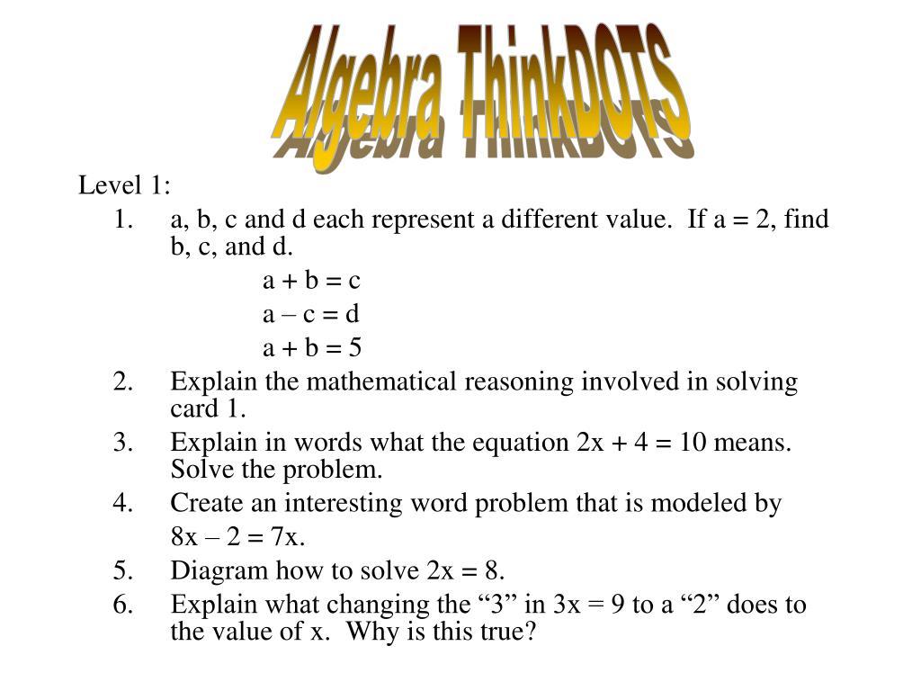 Algebra ThinkDOTS