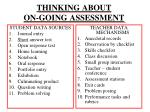 thinking about on going assessment