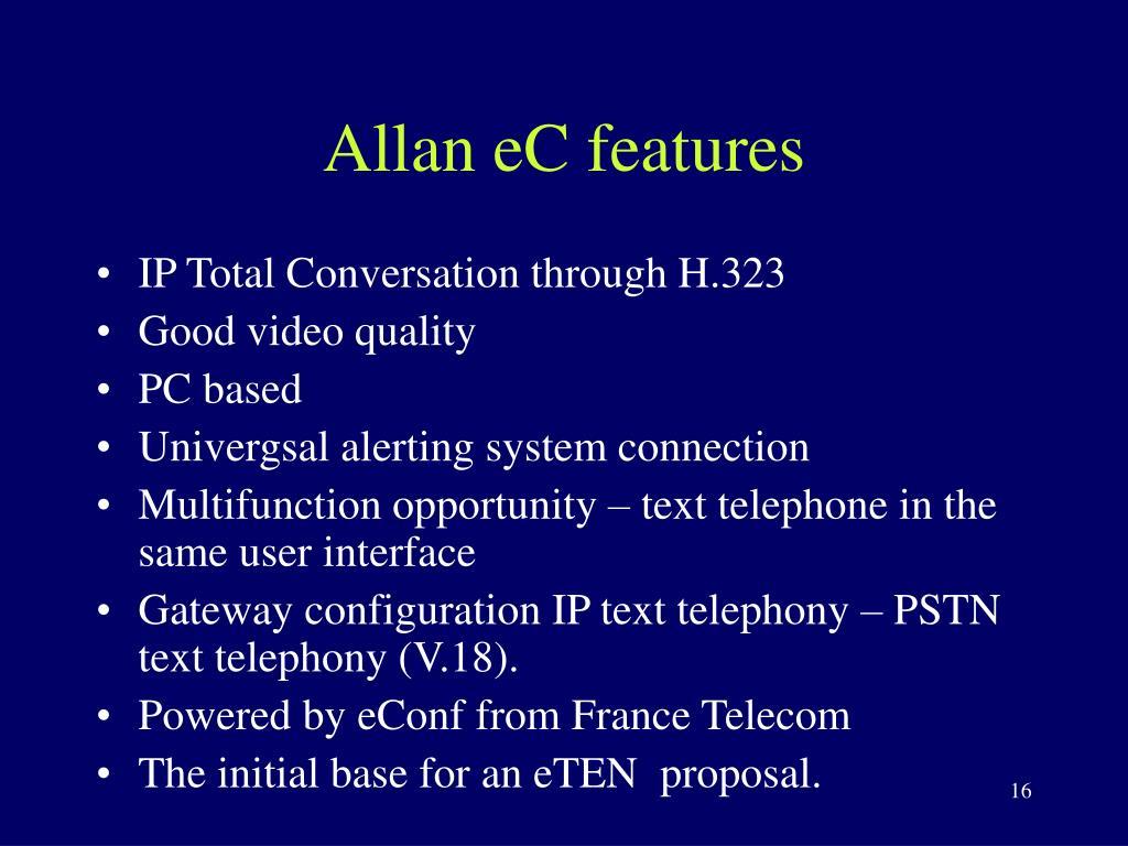 Allan eC features