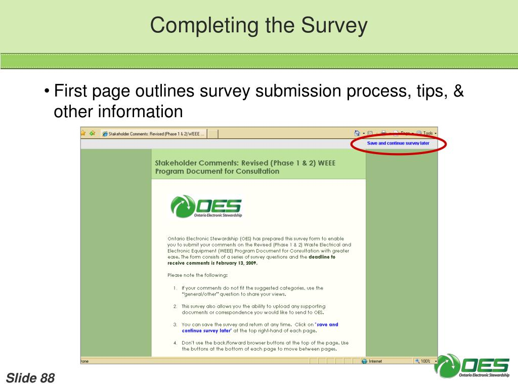Completing the Survey