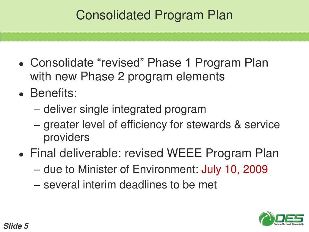 Consolidated Program Plan