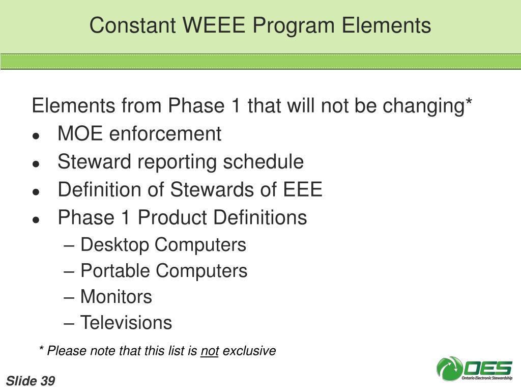 Constant WEEE Program Elements