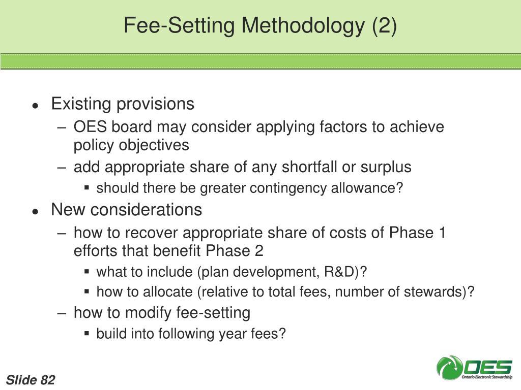 Fee-Setting Methodology (2)