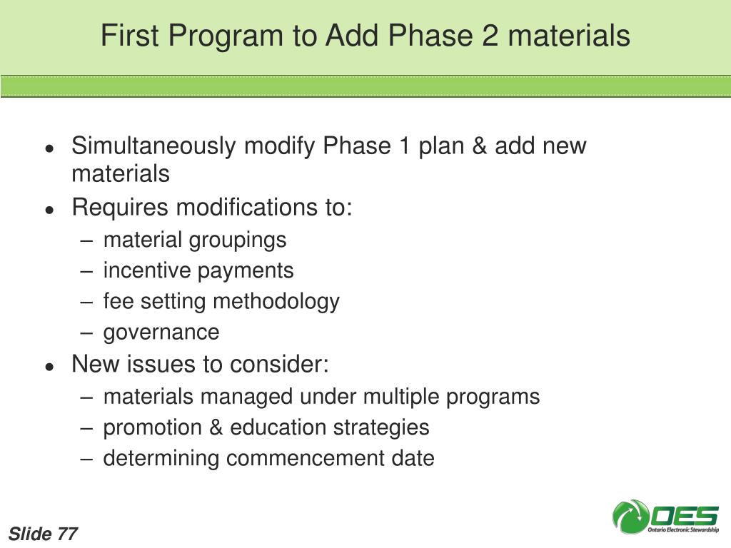 First Program to Add Phase 2 materials
