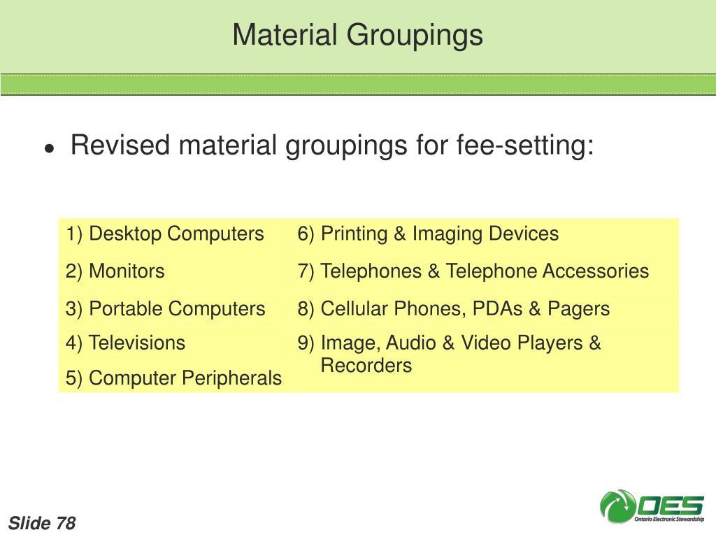 Material Groupings