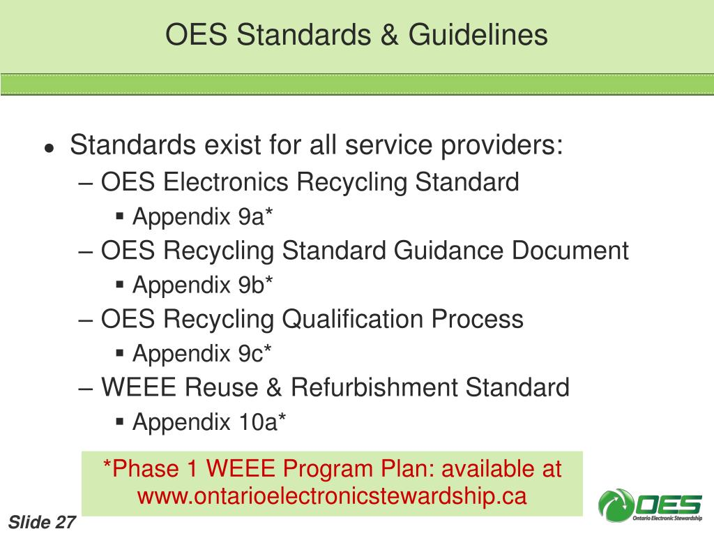 OES Standards & Guidelines