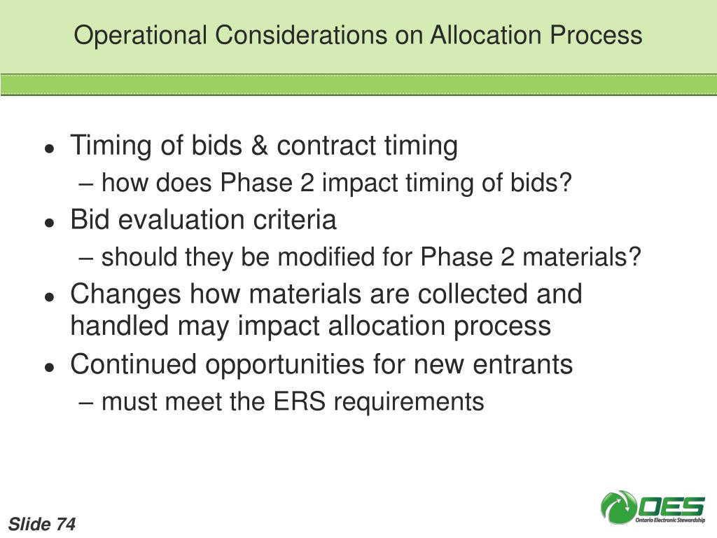 Operational Considerations on Allocation Process