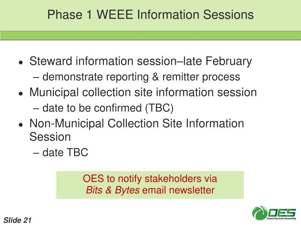 Phase 1 WEEE Information Sessions