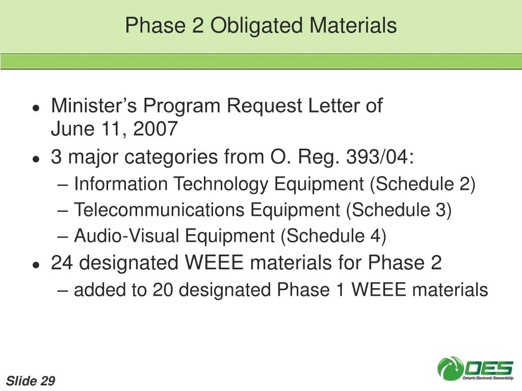 Phase 2 Obligated Materials