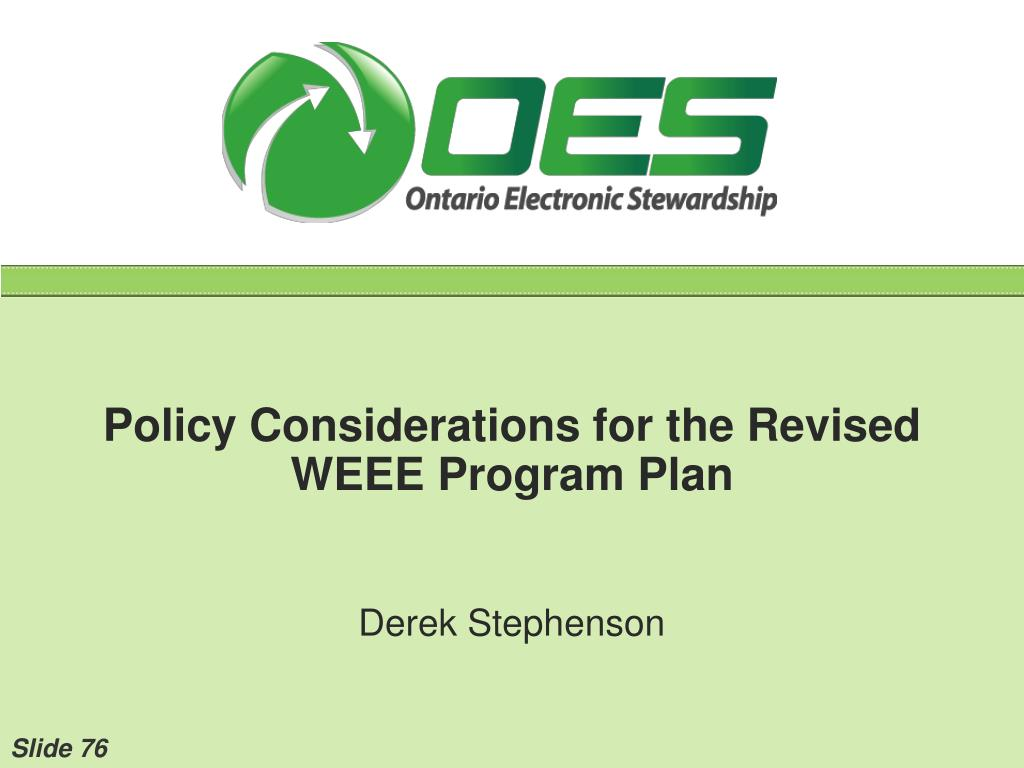 Policy Considerations for the Revised WEEE Program Plan