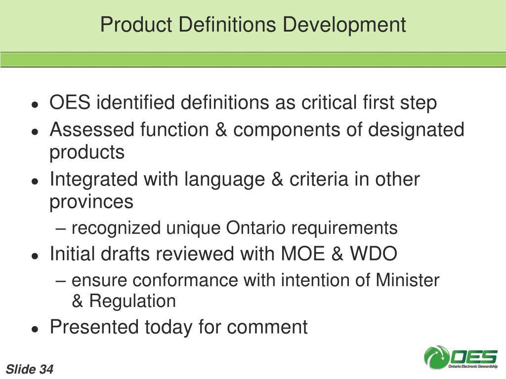 Product Definitions Development