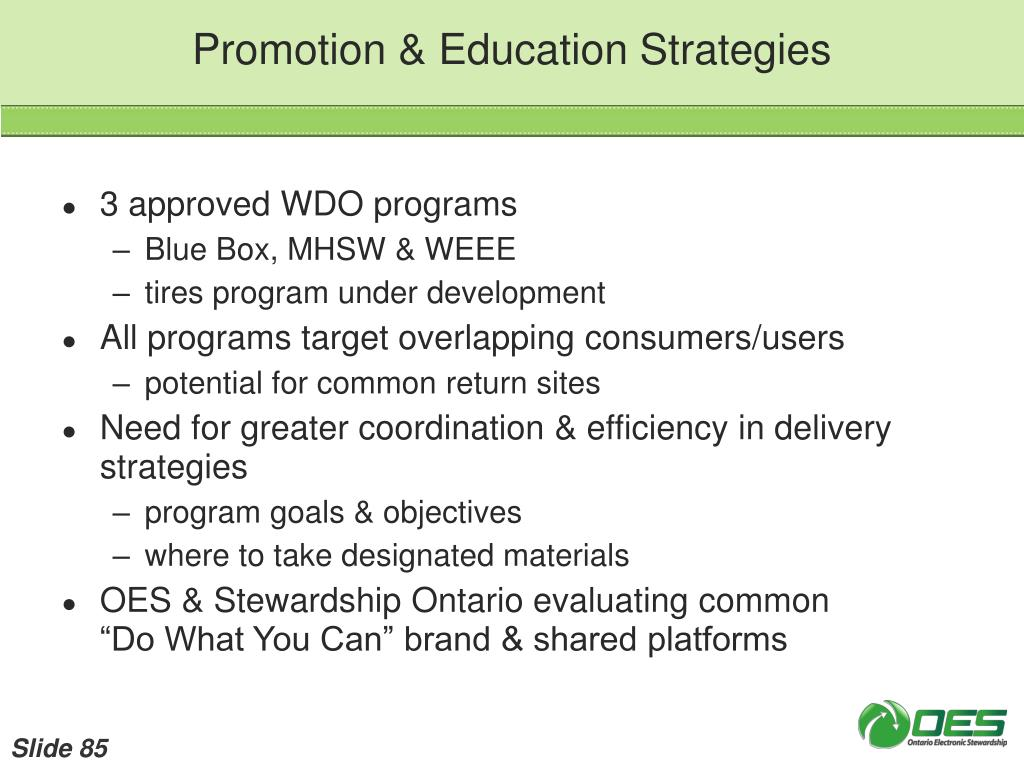 Promotion & Education Strategies