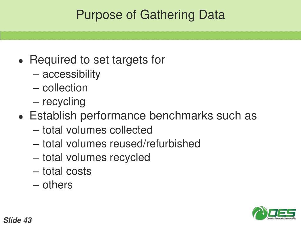 Purpose of Gathering Data