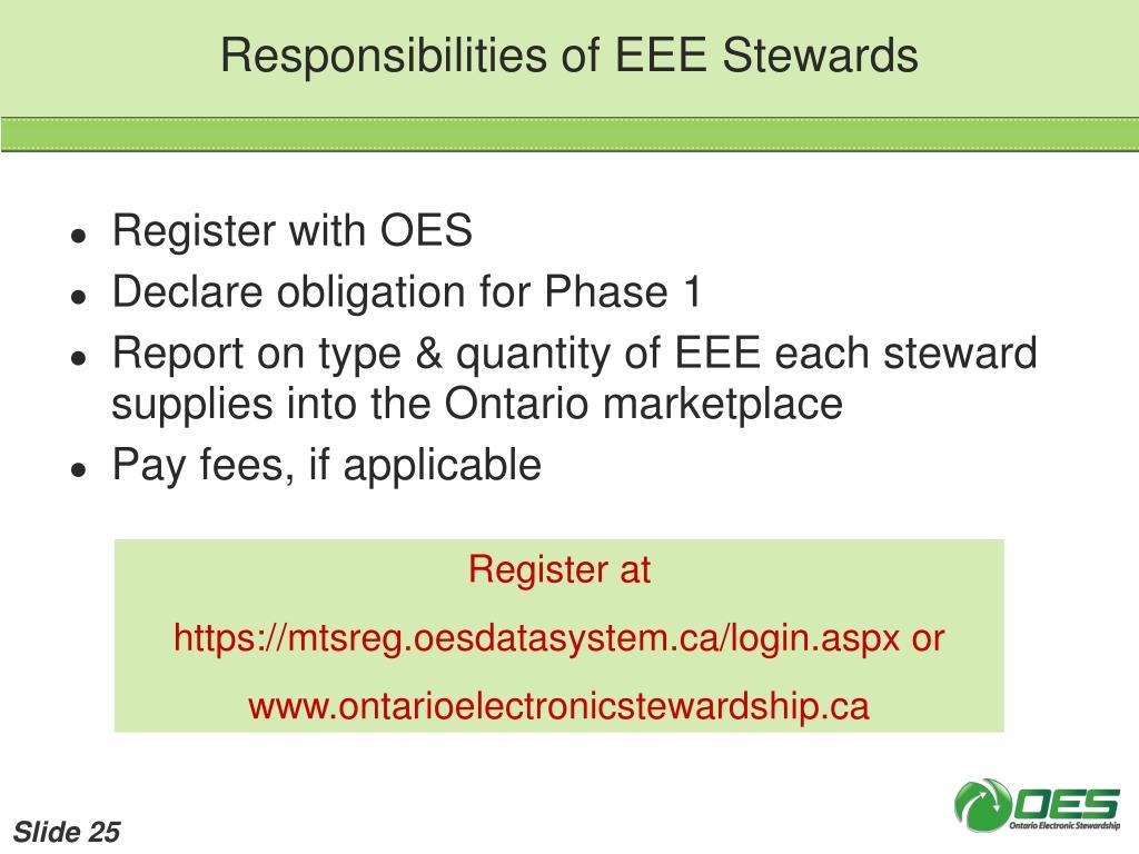 Responsibilities of EEE Stewards