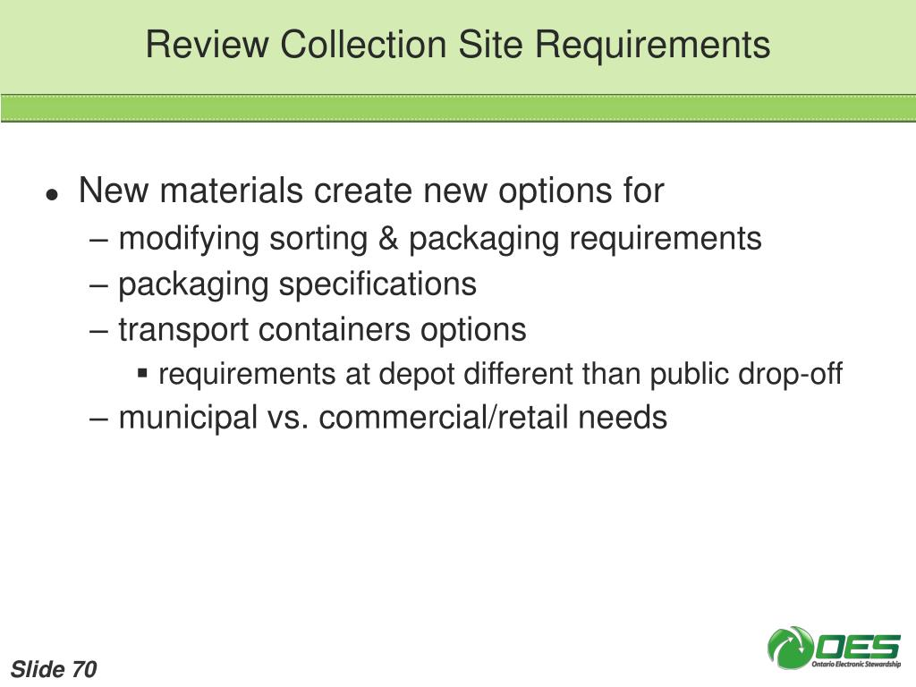 Review Collection Site Requirements