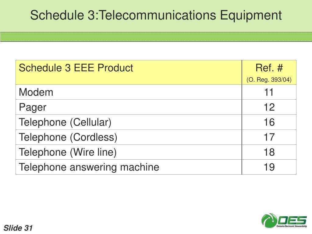 Schedule 3:Telecommunications Equipment