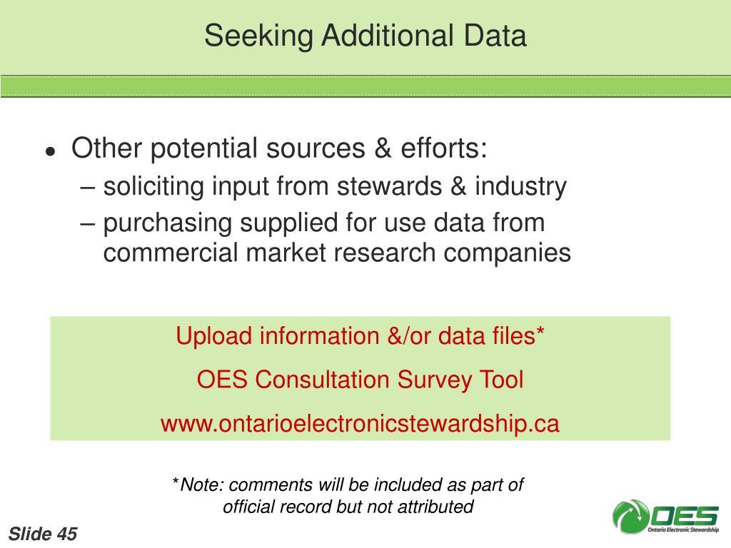 Seeking Additional Data