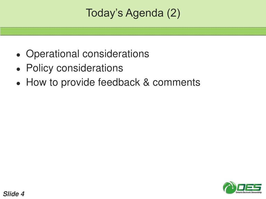 Today's Agenda (2)