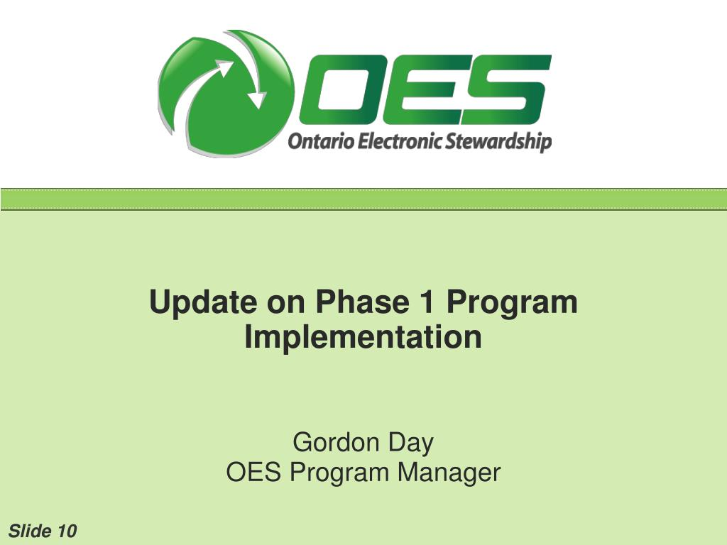 Update on Phase 1 Program Implementation