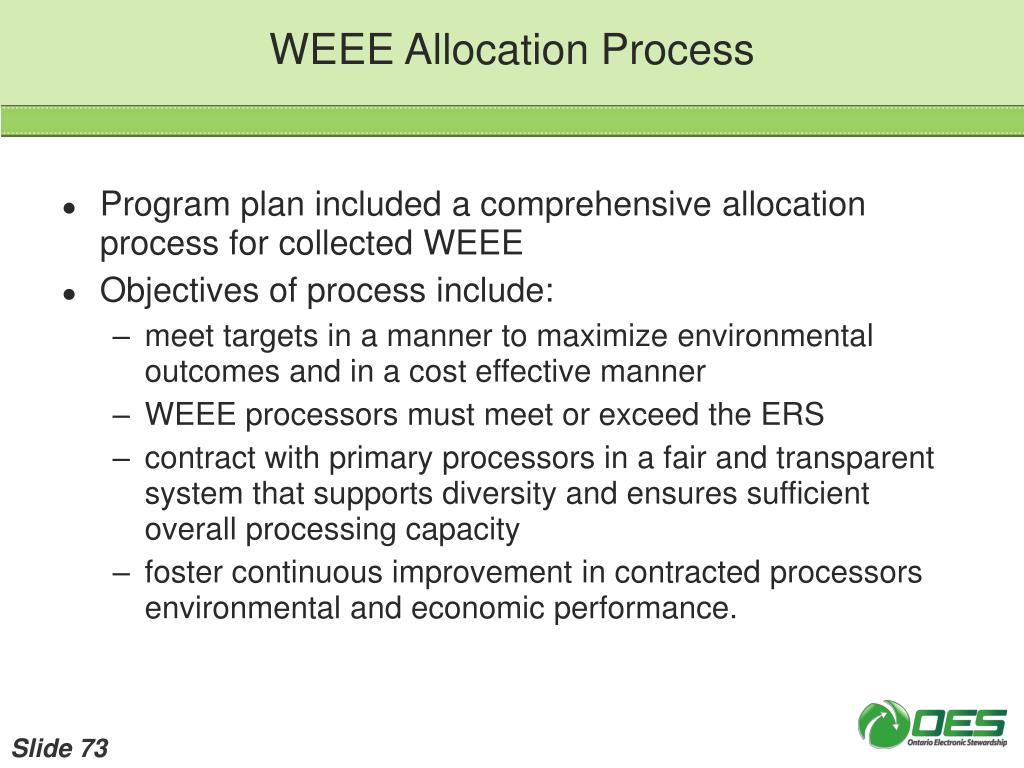 WEEE Allocation Process