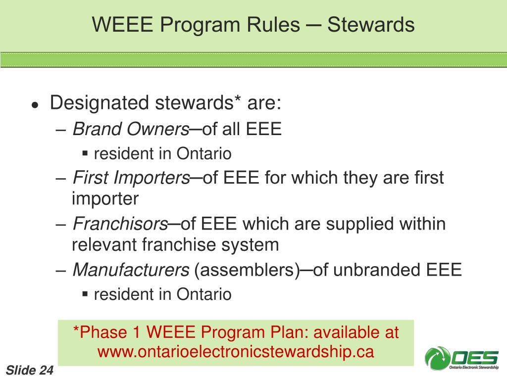 WEEE Program Rules ─ Stewards