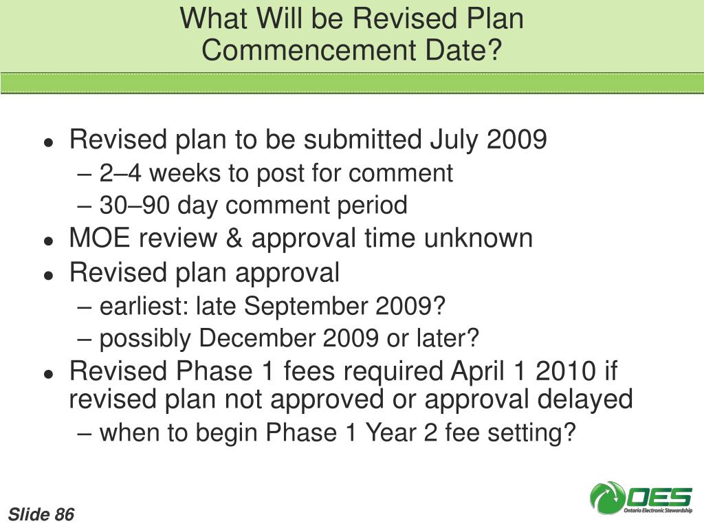 What Will be Revised Plan