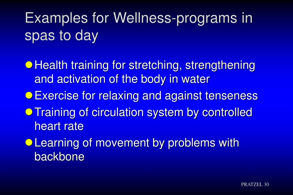 Examples for Wellness-programs in spas to day