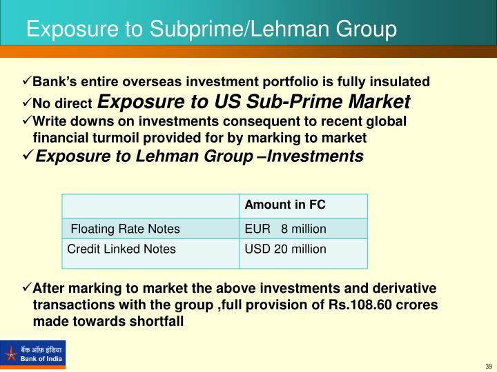 Exposure to Subprime/Lehman Group