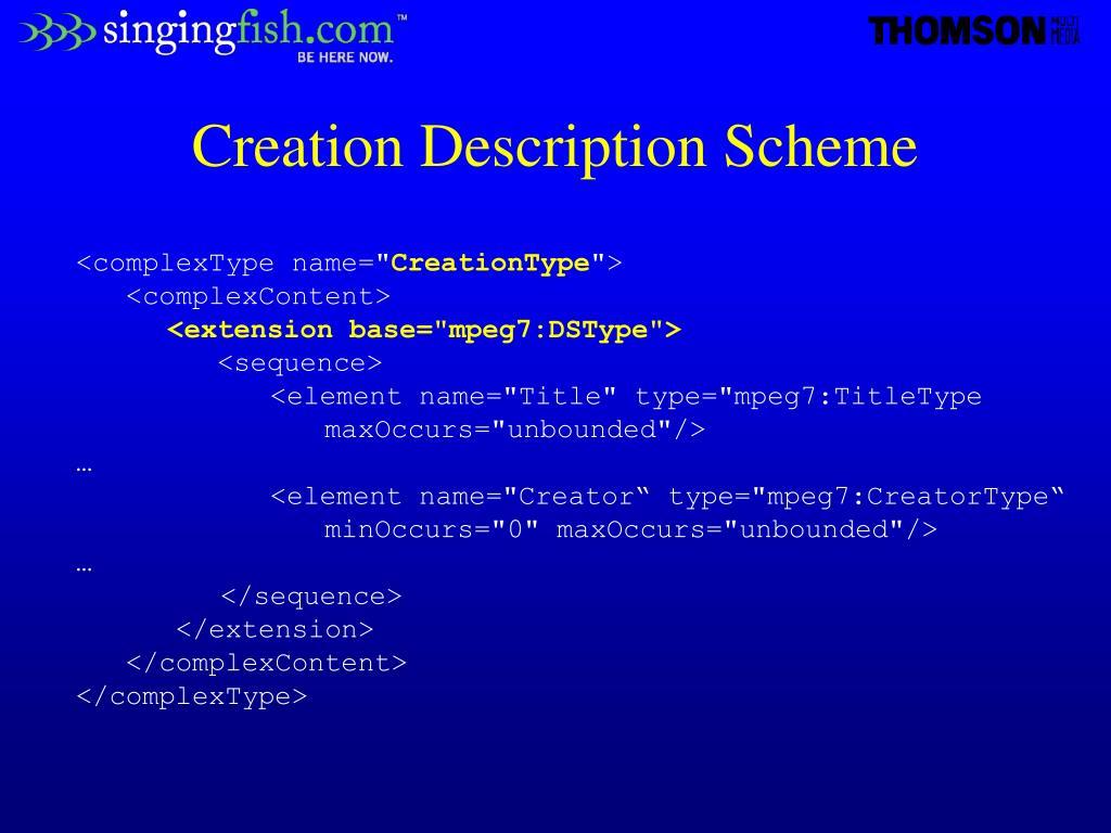 Creation Description Scheme