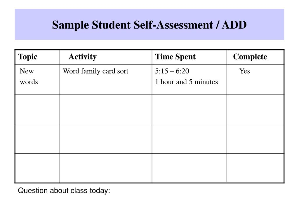 Sample Student Self-Assessment / ADD