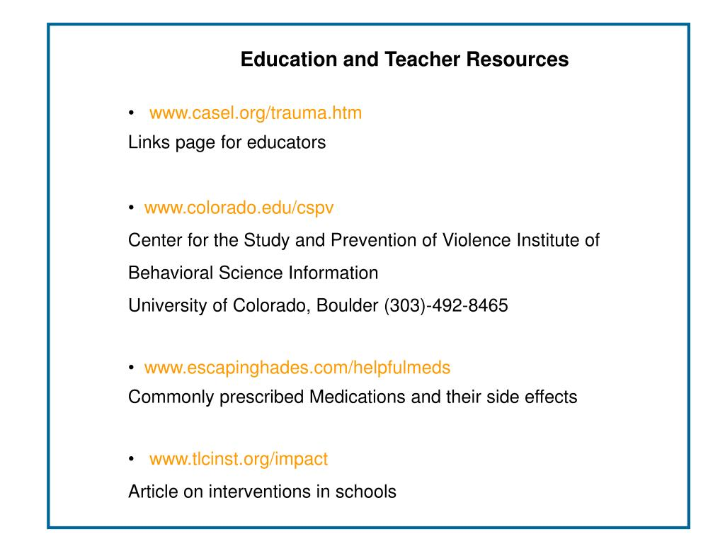 Education and Teacher Resources