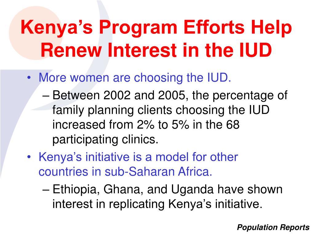 Kenya's Program Efforts Help Renew Interest in the IUD
