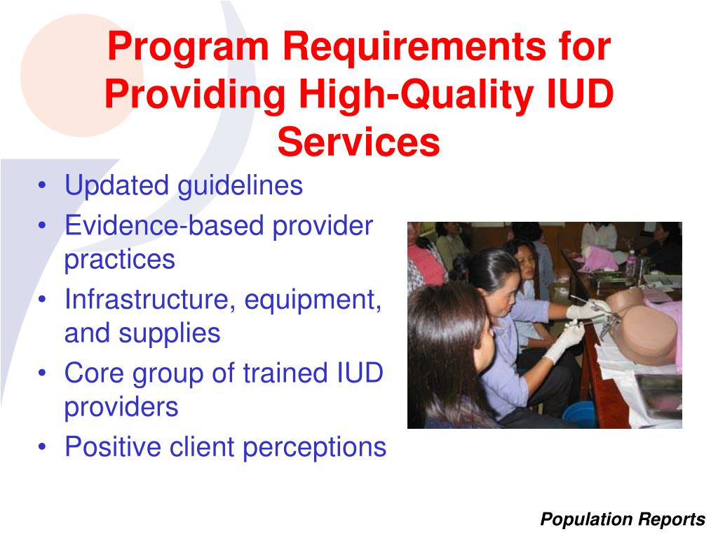 Program Requirements for Providing High-Quality IUD Services