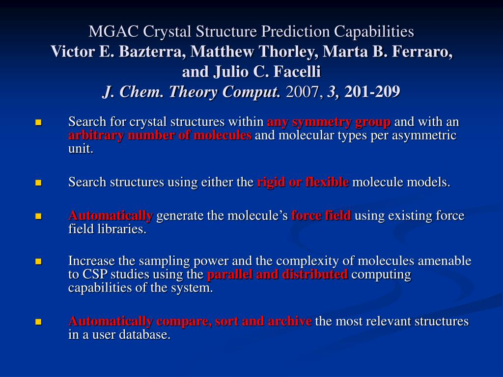 MGAC Crystal Structure Prediction Capabilities