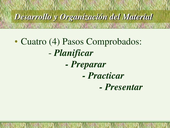 Desarrollo y Organización del Material