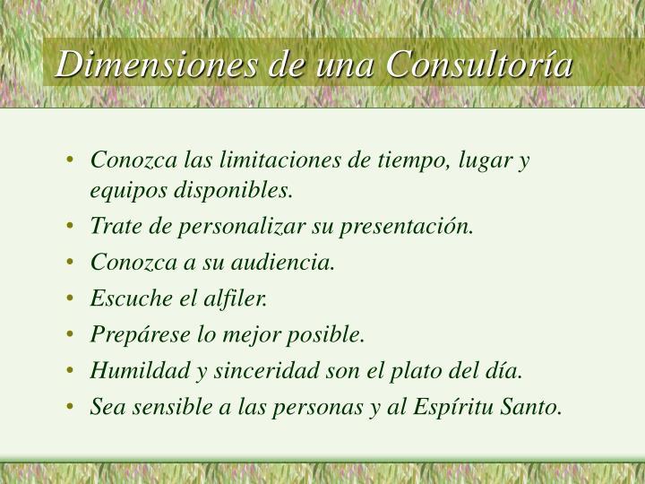 Dimensiones de una Consultoría