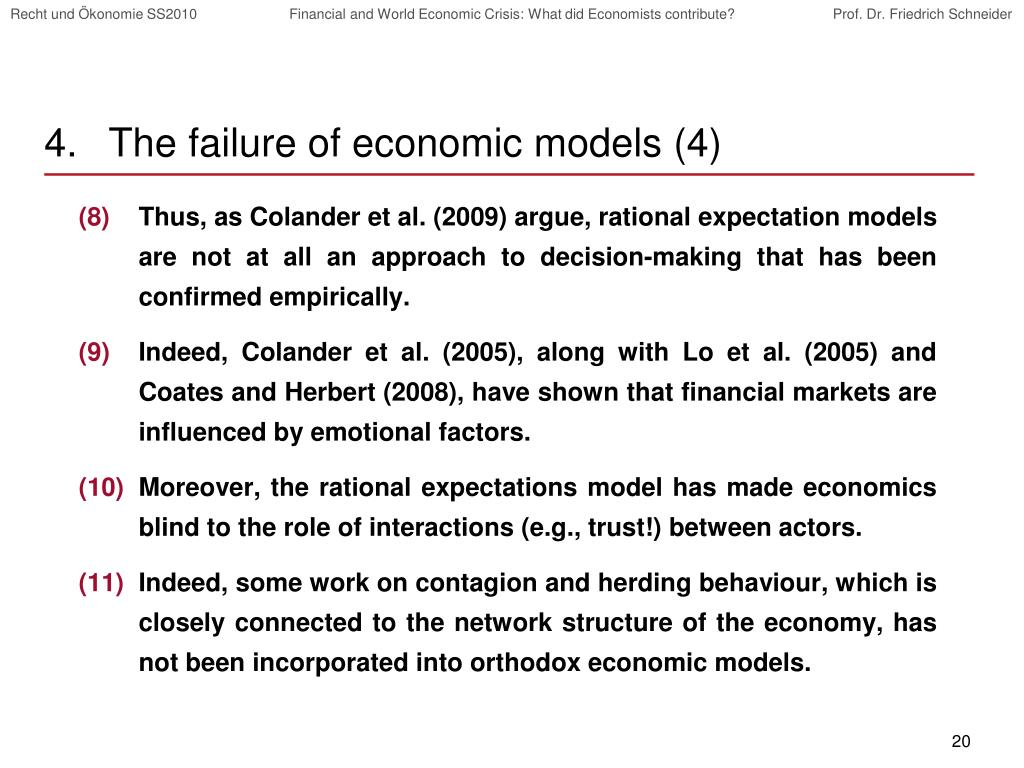 The failure of economic models (4)