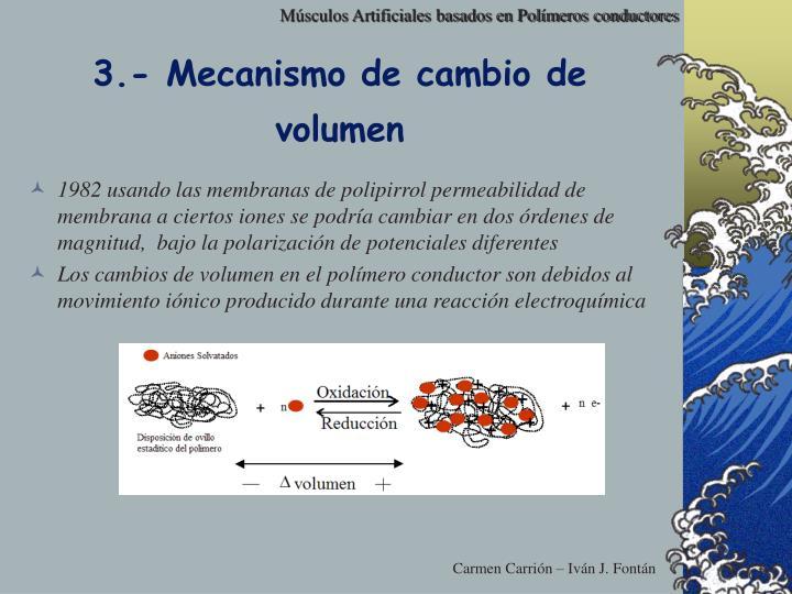 3.- Mecanismo de cambio de volumen