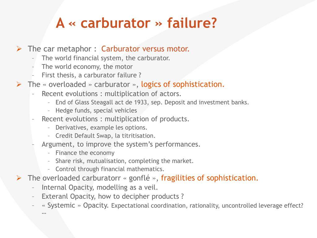 A «carburator» failure?